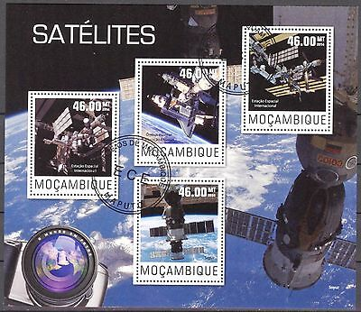Mozambique 2014 Space Satellites sheet of 4 used