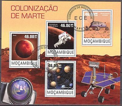 Mozambique 2014 Space Conquest of Mars sheet of 4 used