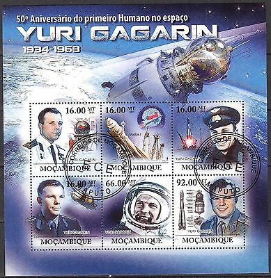 Mozambique 2011 Space Y. Gagarin sheet of 6 used