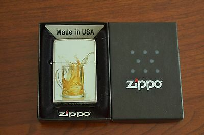 ZIPPO Lighter, Beer Pitcher on White on Polished-Chrome, Sealed, M468