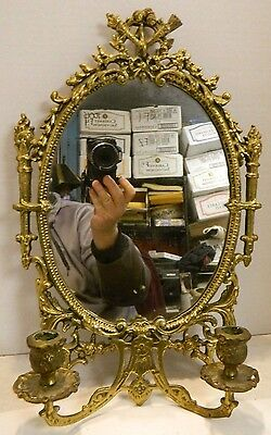 "Vintage Ornate Brass Oval Mirrored Double Wall Sconce 16.5"" x  10.5"" Excellent"