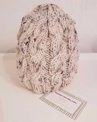 Childs Hand Knitted 7 - 11yrs Aran Cable Beanie Hat (Various Colours)