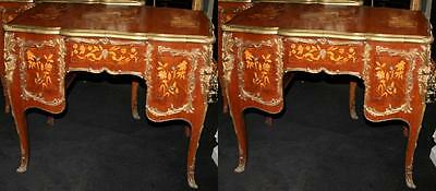 Pair of Fine Brass Bound Inlaid Centre Desks