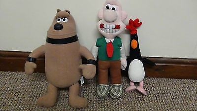 3 Vintage Wallace and Gromit Plushes 1989 Preston Feathers Mcgraw 15""