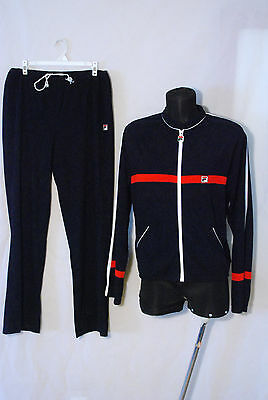 FILA Italy vtg velour triacetate track suit tracksuit pants jacket navy 42 36/30
