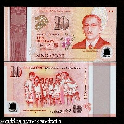 SINGAPORE 10 Dollars SG50 2015 POLYMER Commemorative UNC Jubilee Currency Note