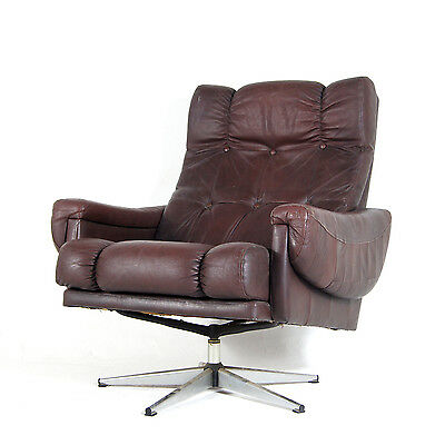 Retro Vintage Danish Swivel Base Leather & Chrome Armchair Lounge Egg Chair 70s