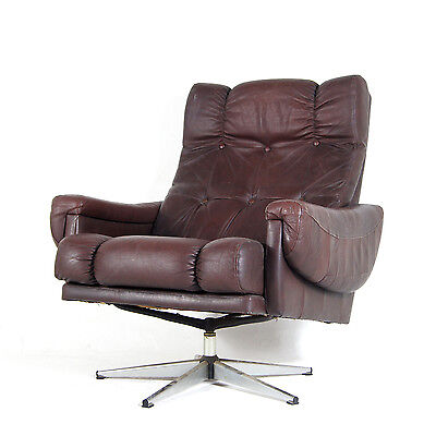Retro Vintage Danish Swivel Base Leather & Chrome Armchair Lounge Egg Chair 70s • £295.00