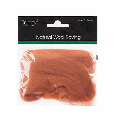 TRIMITS Natural 100% Wool Roving For Needle Felting 10g - BEIGE