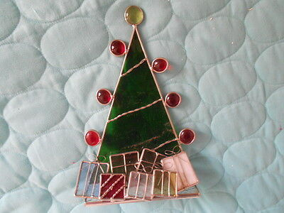 """Stained Glass Christmas Tree with Packages - So pretty!    8"""" high"""