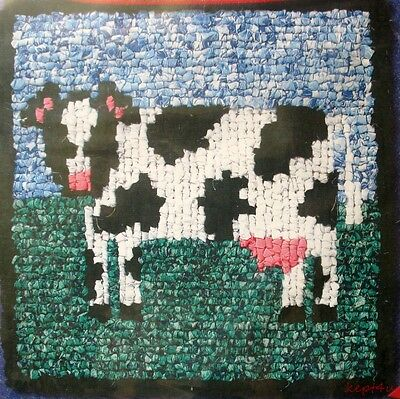 Wonder Hook COW Pillow or Chair Pad Fabric Rug Hooking Pattern n Canvas VTNS