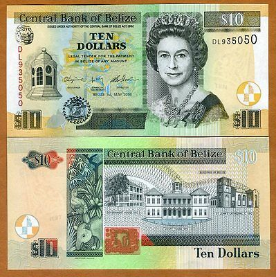 Belize, 10 Dollars, 2016, QEII, P-68e, New Date and Signature, UNC