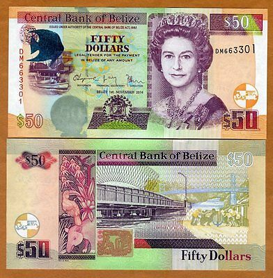 Belize, 50 Dollars, 2014, QEII, P-70e, New Date and Signature, UNC