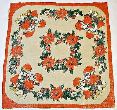 """Vintage Christmas Dance With Santa Claus Red Beige Burlap 38"""" Square Tablecloth"""