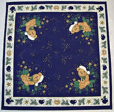 Germany-Vintage Authentic Christmas Teddy Bears Blue Cotton 30'' Tablecloth