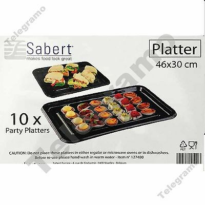 10 Sabert 46x30cm Plastic Food / Sandwich Party Platter Large Serving Trays