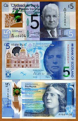 SET, Scotland 3 x 5 pounds,  2016, P-New, 3 new POLYMER banknotes, UNC