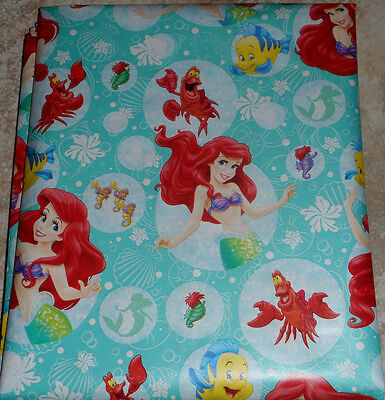 ARIEL LITTLE MERMAID AMERICAN GREETINGS CHRISTMAS Wrapping PAPER 20 SQ FT ROLL