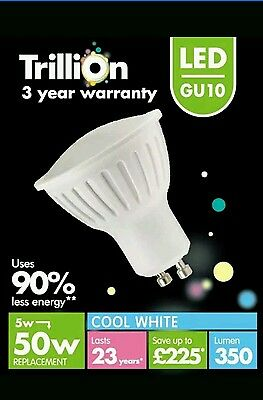 Trillion LED GU10 Bulb 350lm 90 Cool White 5w PACK OF 8