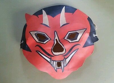 1950's LUMINOUS MASKLITE DIECUT CARDBOARD Devil MASK  Cosmic Artifacts Estate