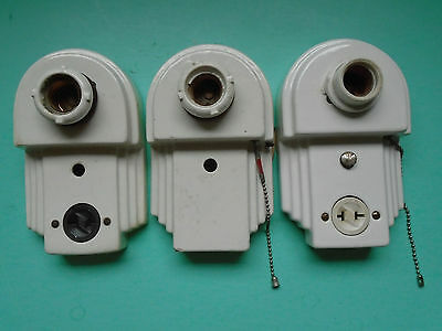 3 White Antique Art Deco Porcelain Bathroom Wall Light Sconce Wall Plates Outlet