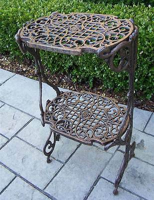Two-Tier Filigree Plant Stand Table in Antique Bronze Finish [ID 16780]