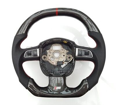 AUDI S5 8T Carbon Fibre Steering Wheel S Tronic Leather Multi With Gear Shiffter
