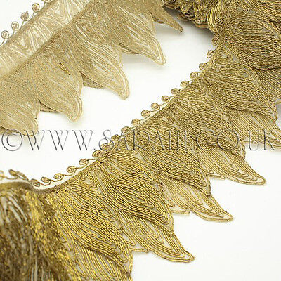 ANTIQUE GOLD FEATHER STYLE TRIMMING, TRIM, MOTIF,edging,trim,sequins,beads