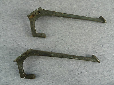 VINTAGE LOT of 2 BRASS or BRONZE WALL CLOTHES COAT TOWEL HAT HOOK HOOKS HANGERS