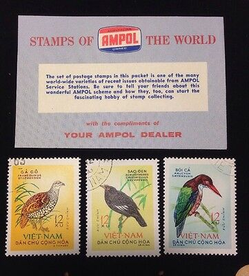 Vintage AMPOL STAMPS OF THE WORLD 1963 REPUBLIC NORTH VIETNAM Asian Birds x 3