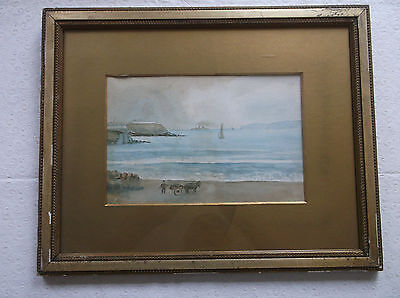 Framed Watercolour Painting A Charming Study Of A Sea And Beach View