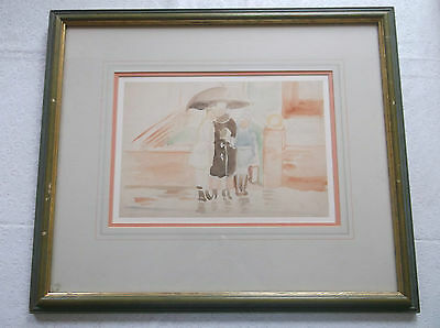 FRAMED WATERCOLOUR PAINTING 1960s A STUDY OF PEOPLE STANDING IN THE RAIN