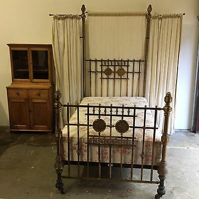 Antique Half Tester Brass Small Double Bed Princess Living Boudoir Finery