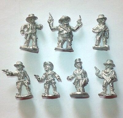 Wild West Characters, 7x 28mm Unpainted Miniatures
