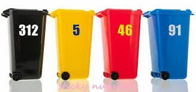 Sticky Self Adhesive Vinyl Wheelie Bin Number Stickers white numbers