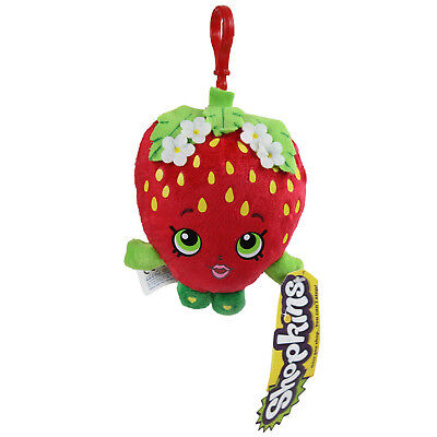 Shopkins 4 Inch Strawberry Kiss Figure Soft Cuddly Plush Childrens Toy Bag Clip