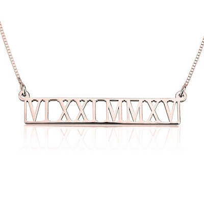 Rose Gold Plated Roman Numeral Bar Necklace Date Nameplate - oNecklace ®