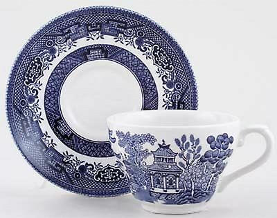 Set Of Six Tea Cup Saucer Set Churchill Willow Blue Vintage Style Cups Mug Plate