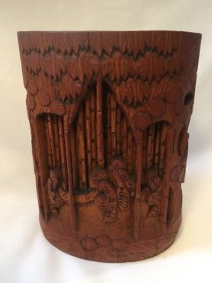 Vintage Oriental Carved Bamboo Paint Brush Pot.