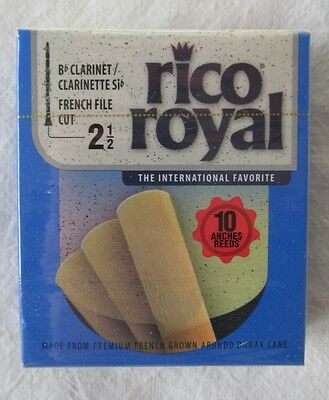 Box of 10 Rico Royal Size 2 1/2 Bb Soprano Clarinet Reeds New Unopened 2.5 Reed