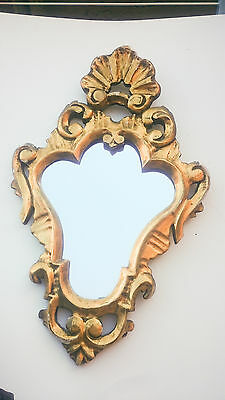 French Vintage carved wood Gilt Louis XV style mirror roccoco 22 X 7 inches