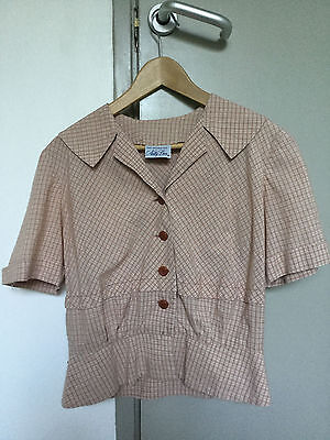 True Vintage 1940s/50s/60s Check Cotton Blouse Top Shirt UK12 14 Nelly Don