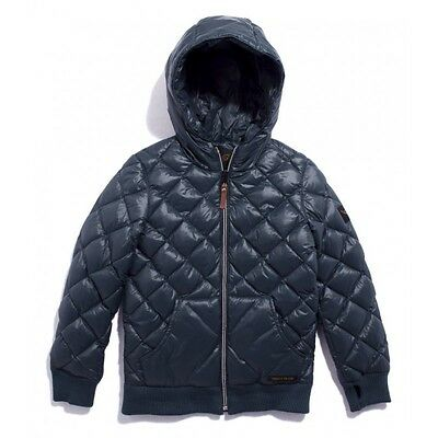 FINGER IN THE NOSE Navy Blue Quilted Buckley Unisex Jacket 10-11 years