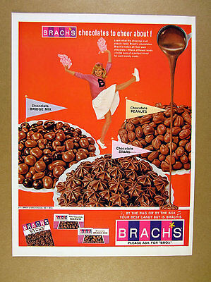 1966 Brach's Chocolate Bridge Mix Peanuts Stars cheerleader photo print Ad