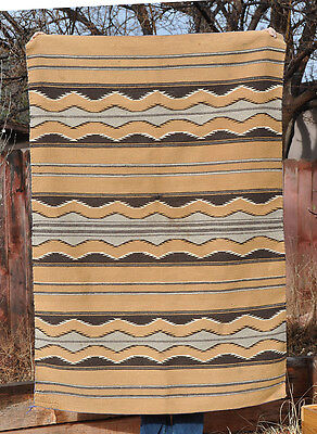 "Large Vintage Chinle Navajo Rug - 59"" By 41"" - Soft Tans, Browns, Grey, White"