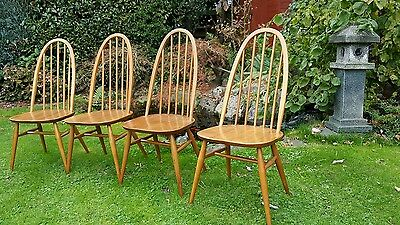 Set of four vintage Ercol Windsor Quaker dining chairs 1960s solid elm ash beech