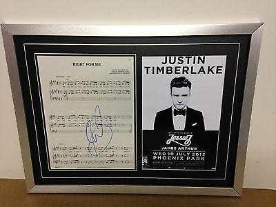 Justin Timberlake Hand Signed/Autographed Songsheet with a Poster and COA