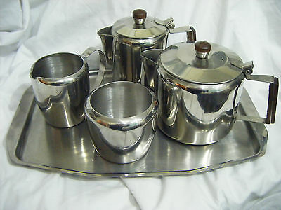 VINTAGE RETRO 18-8 STAINLESS STEEL TEA SET AND TRAY -Wooden Handles