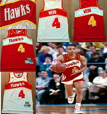 Spud Webb Jersey 4 Hawks Throwback Red White Basketball Swingman Stitched New
