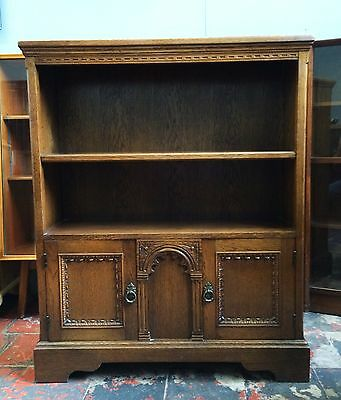 Small Solid Oak Carved Bookcase With Two Door Cabinet, Antique Style, Vgc.